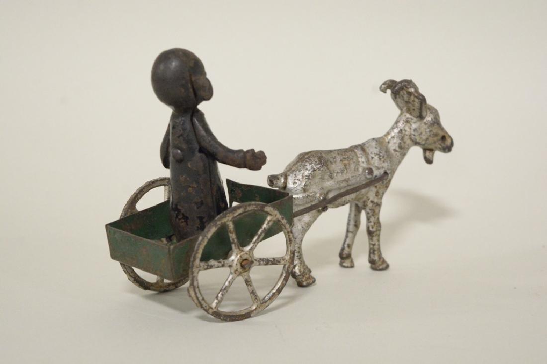 Kenton Cast Iron Yellow Kid In Goat Cart - 3