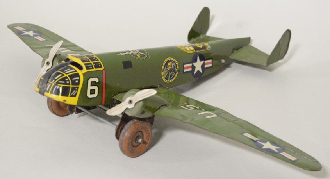 Marx Tin Litho Wind Up Army Airplane No.6