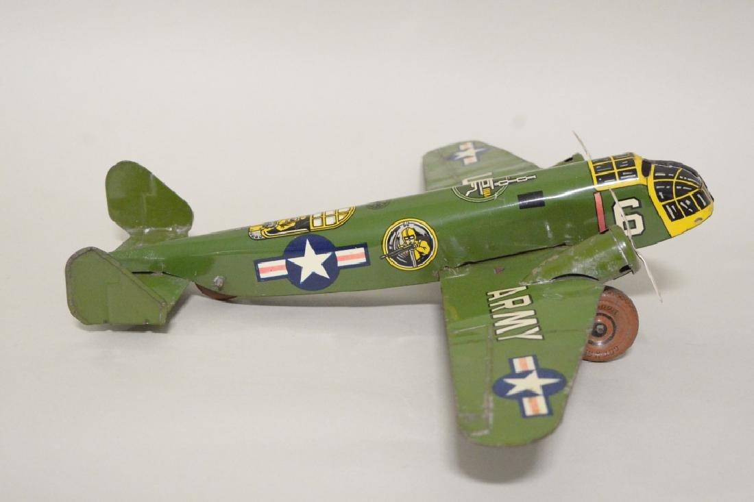 Marx Tin Litho Wind Up Army Airplane No.6 - 3