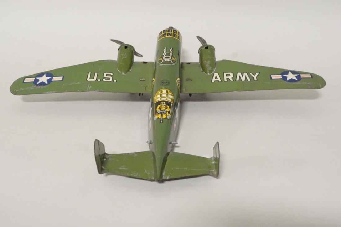 Marx Tin Litho Wind Up Army Airplane No.6 - 4