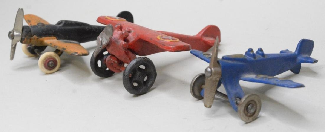 Three Cast Iron Hubley/Arcade? Airplanes