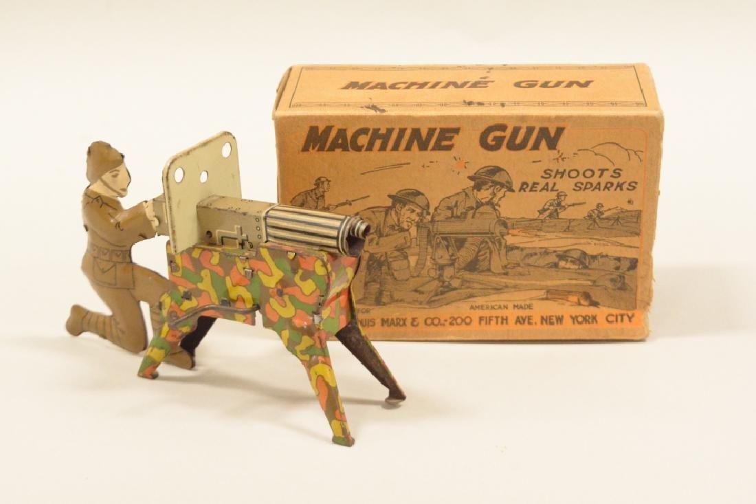 Vintage Tin Litho Marx Sparking Machine Gun In Box
