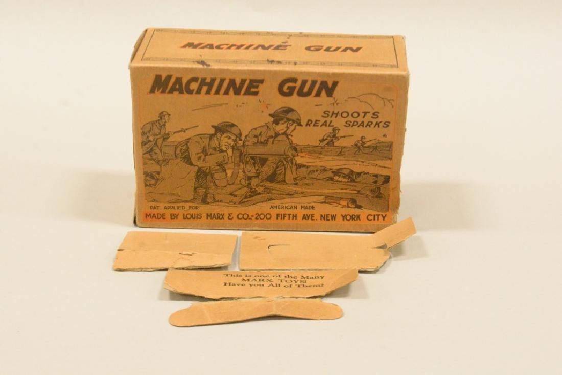 Vintage Tin Litho Marx Sparking Machine Gun In Box - 4