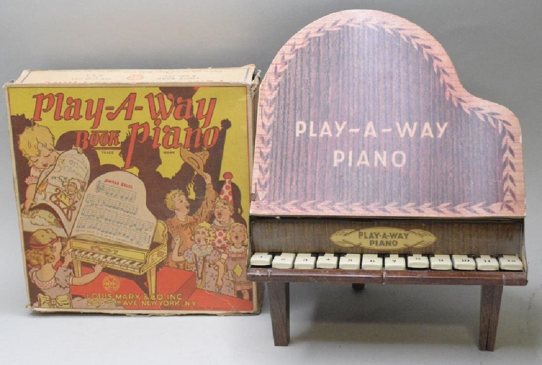 Marx Tin Litho Play-A-Way Book Piano