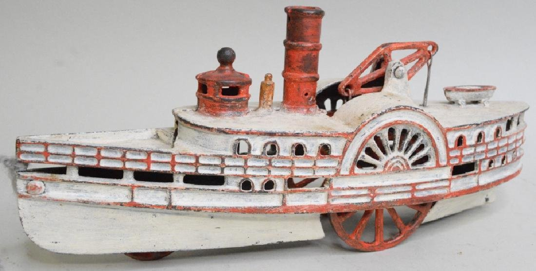 Early Cast Iron Pull Toy Steam Boat