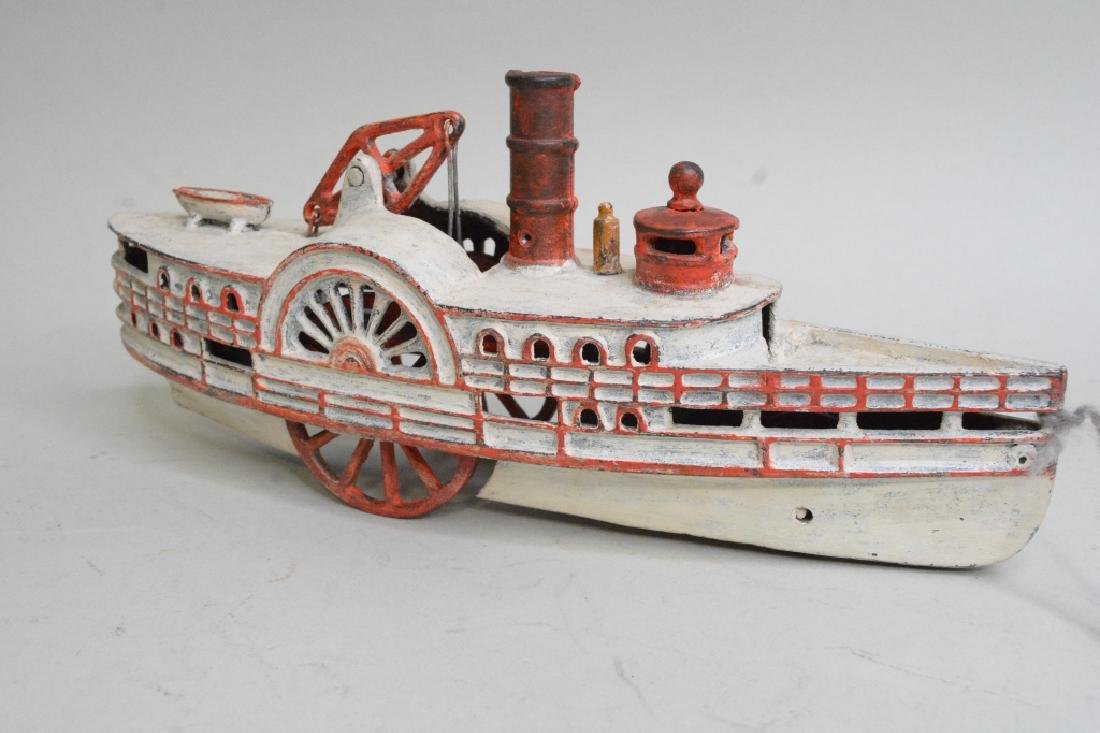 Early Cast Iron Pull Toy Steam Boat - 2