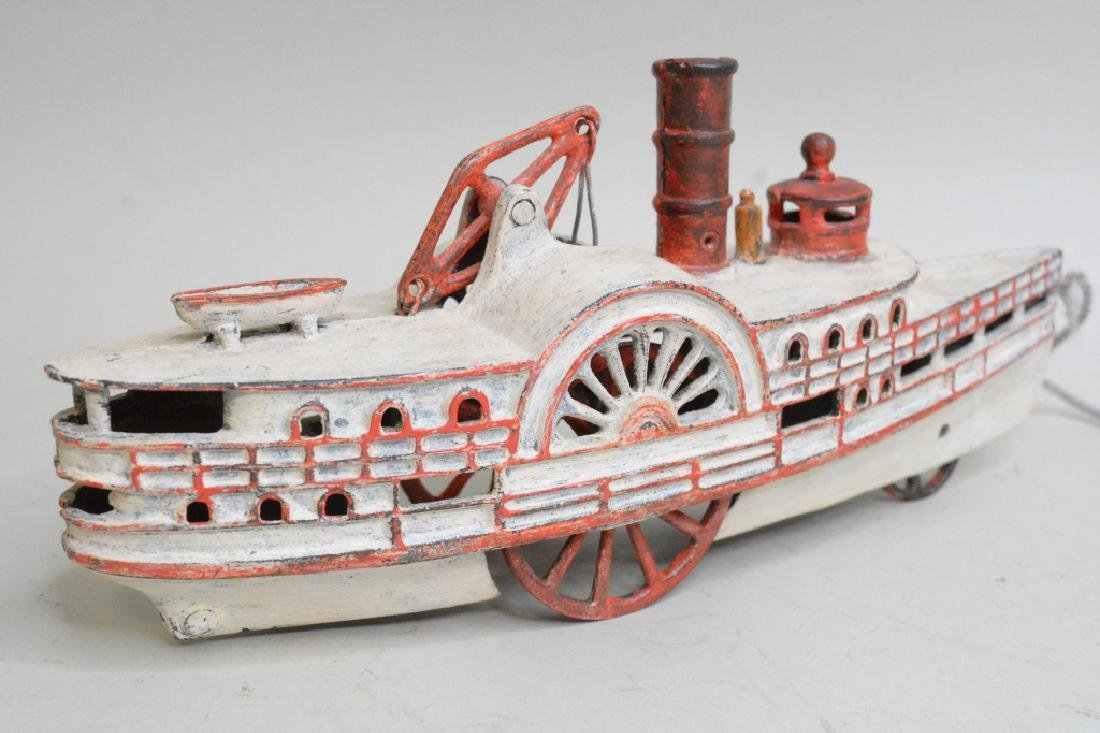 Early Cast Iron Pull Toy Steam Boat - 3