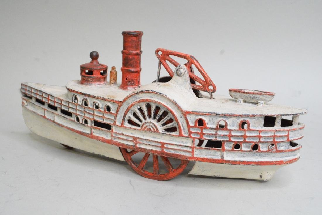 Early Cast Iron Pull Toy Steam Boat - 4