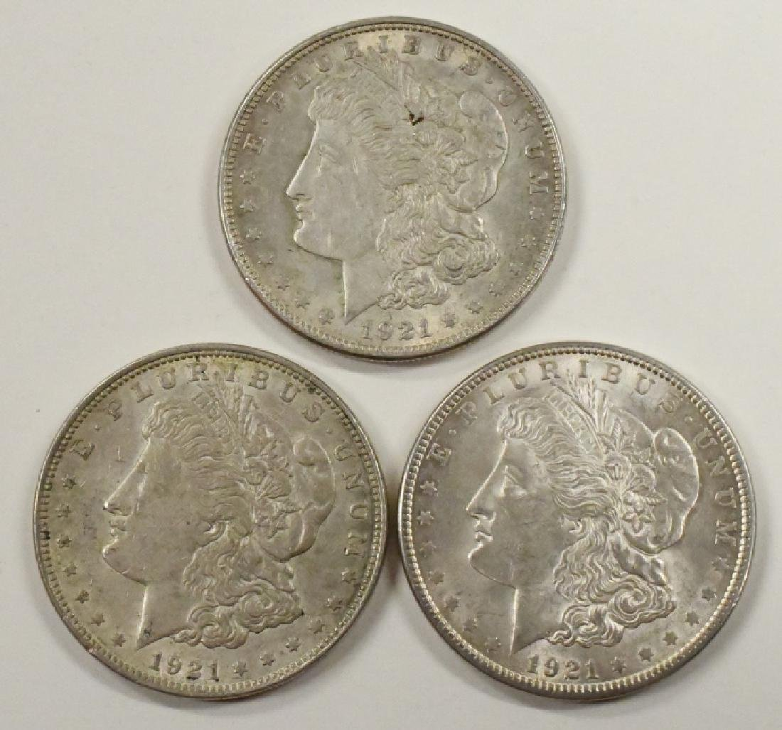 Lot Of 3 1921-P Morgan Silver Dollars