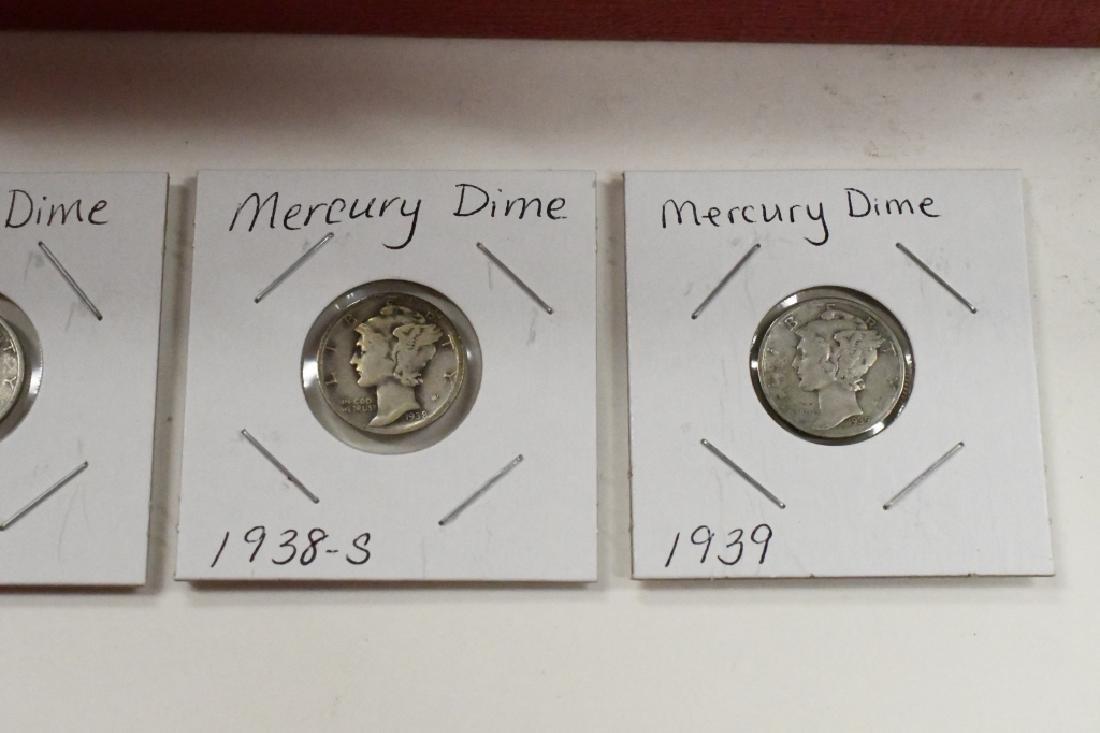 (85) 1936-39 90% Silver Mercury Dimes - 3