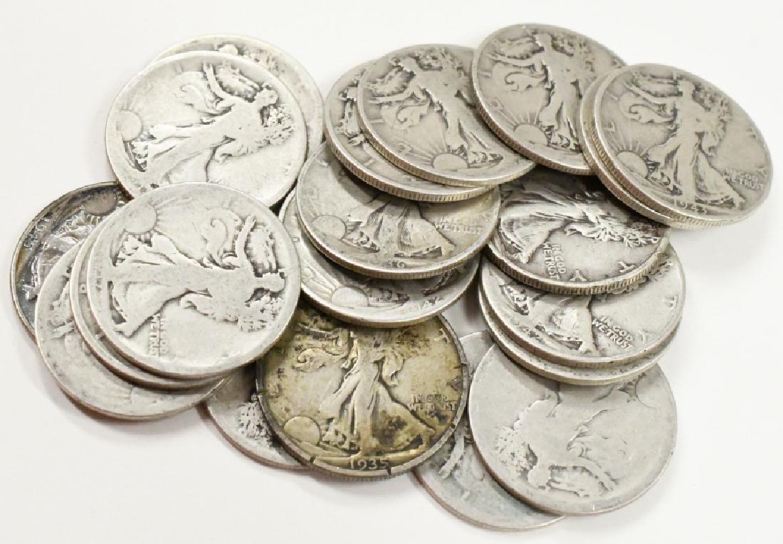 $10 Face 90% Silver Walking Liberty Half Dollars