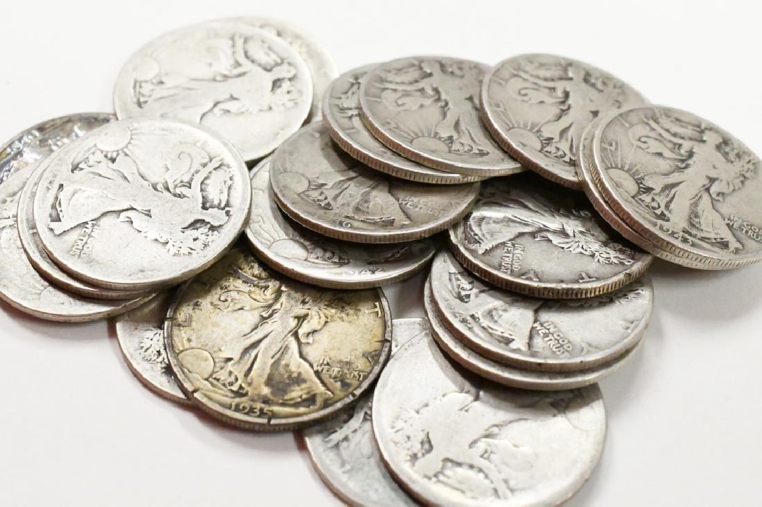 $10 Face 90% Silver Walking Liberty Half Dollars - 2