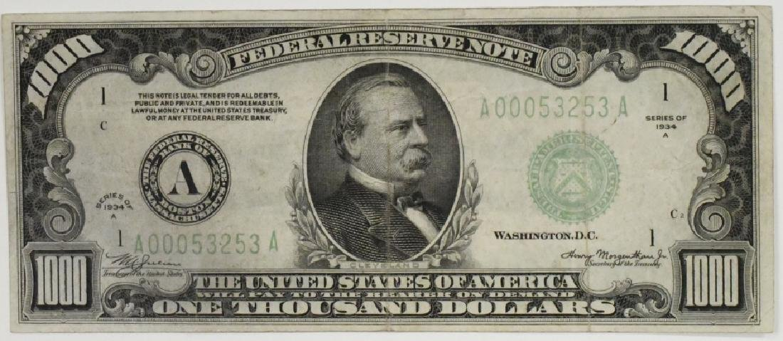 1934-A US $1000 Federal Reserve Note