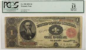 1891 US $1 Federal Reserve Note PCGS-15