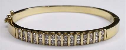 14K Yellow Gold 3cttw Diamond Bangle Bracelet