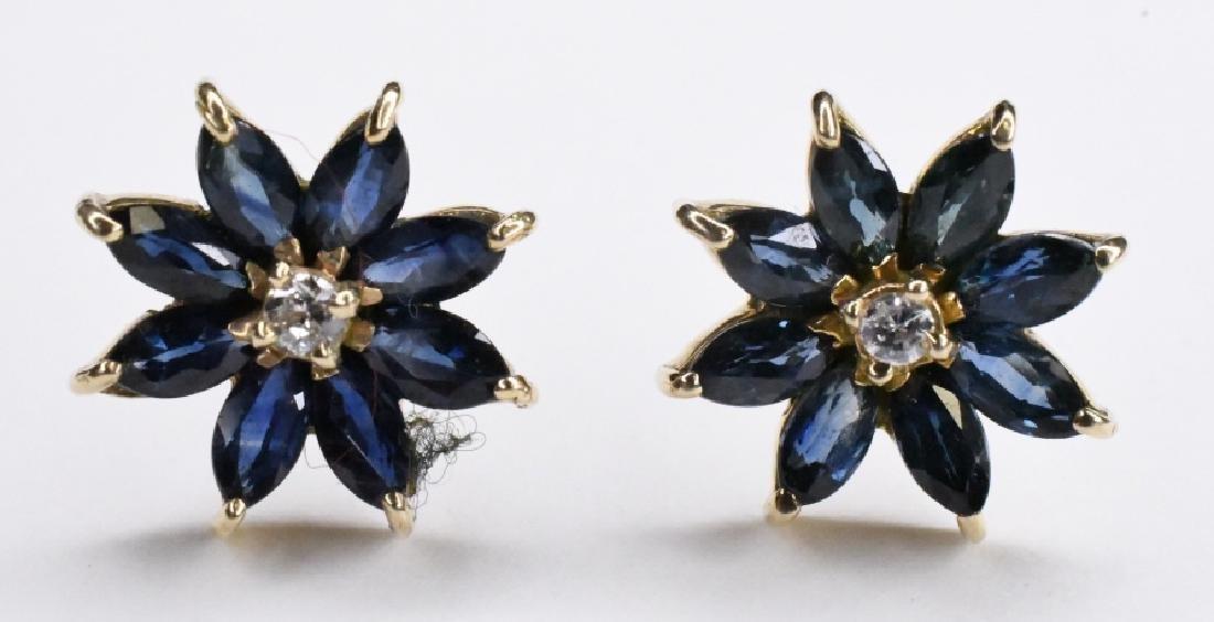 14K Yellow Gold Sapphire & Diamond Earrings