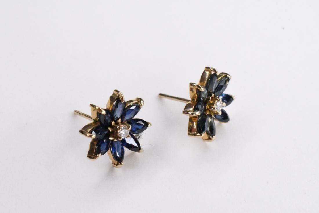 14K Yellow Gold Sapphire & Diamond Earrings - 2