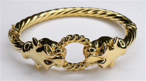 be4b0c869 Ladies Italian 14K Yellow Gold Panther Bangle - Jan 20, 2019 | Kraft ...