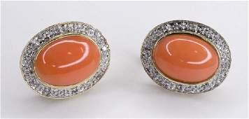 Ladies 14K Yellow Gold Diamond & Coral Earrings