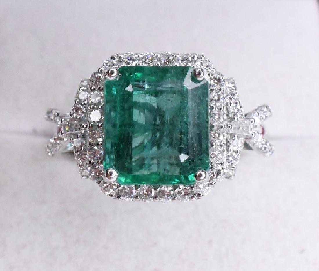 Platinum 5.32ct Emerald & .75ctw Diamond Ring