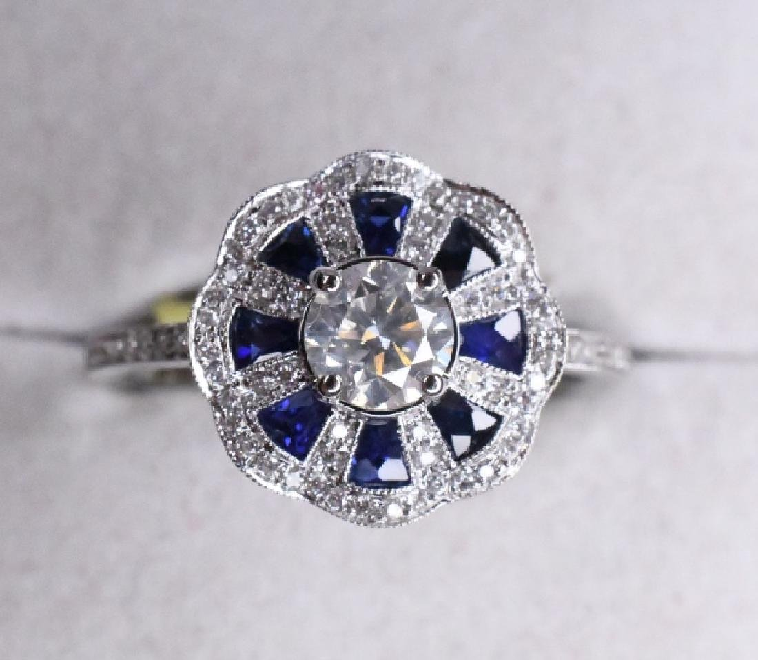 18K .48ctw Sapphire & .68ctw Diamond Ring
