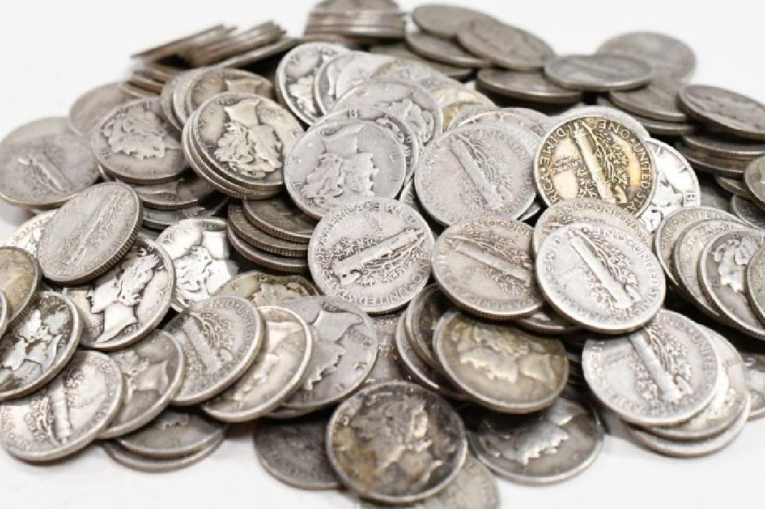 $20 Face Of 90% Silver Mercury Dimes - 2