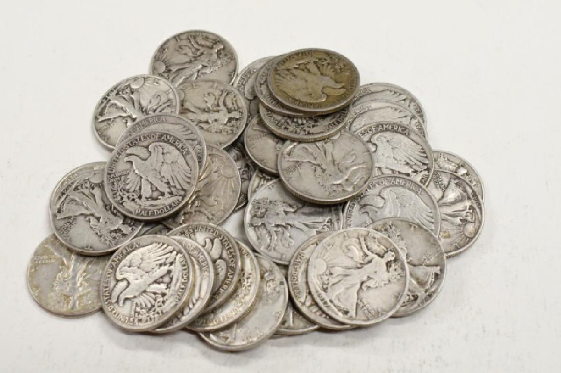 $20 Face Of 90% Silver Walking Half Dollars