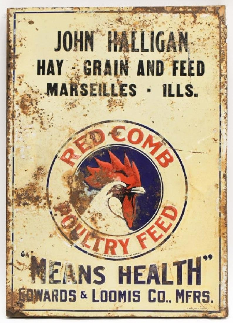 SST Embossed Red Crown Poultry Feed Adv Sign