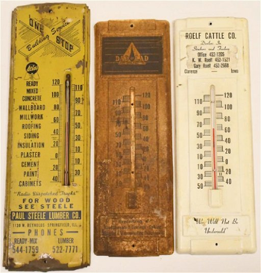 Lot of 3 Vintage Advertising Thermometers