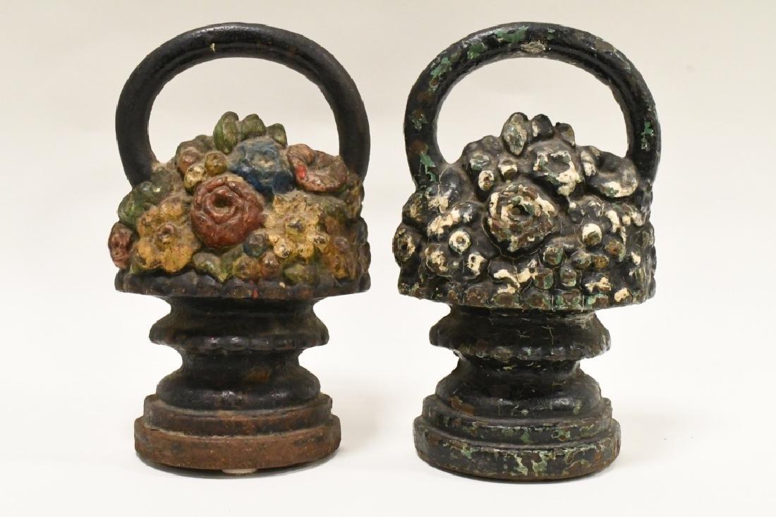 Vintage Cast Iron Flower Basket Door Stops