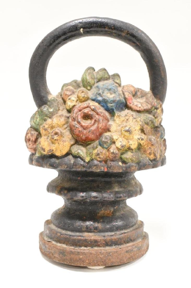 Vintage Cast Iron Flower Basket Door Stops - 2