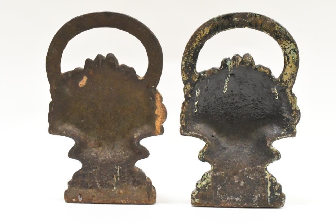 Vintage Cast Iron Flower Basket Door Stops - 4