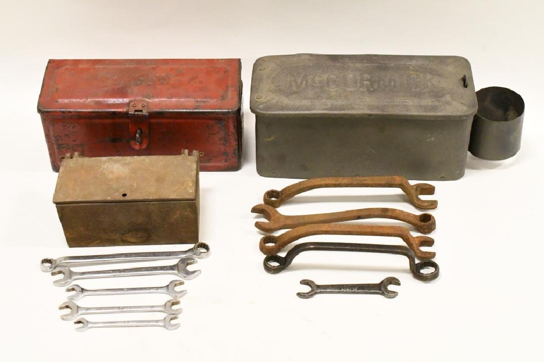 Lot Of Vintage Tractor Tool Boxes & Tools
