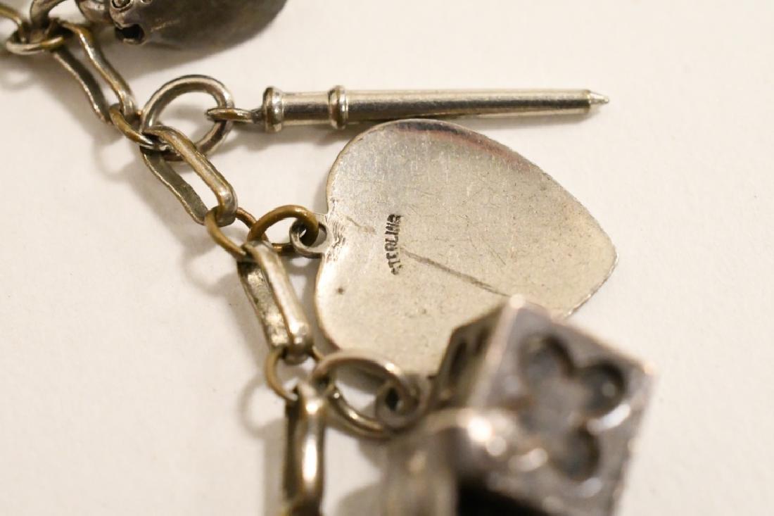 Vintage Sterling Silver Charm Bracelet - 6