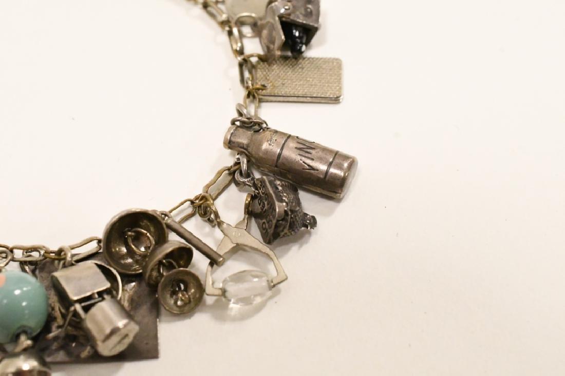 Vintage Sterling Silver Charm Bracelet - 7