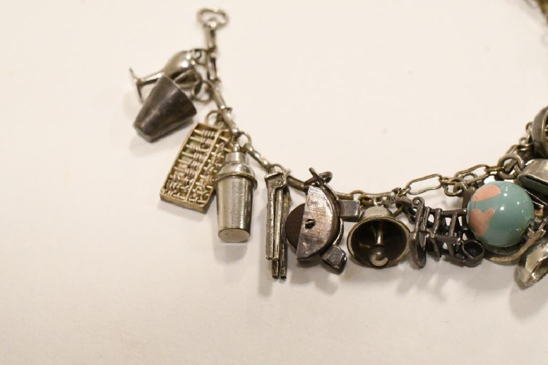 Vintage Sterling Silver Charm Bracelet - 8