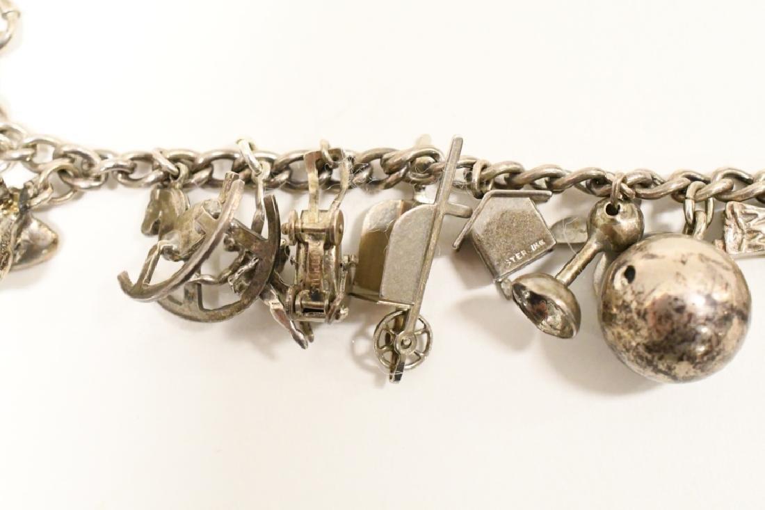 Vintage Sterling Silver Charm Bracelet - 5