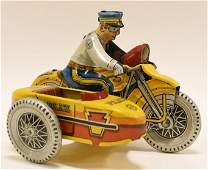 Marx Windup Tin Litho Police Motorcycle & Sidecar