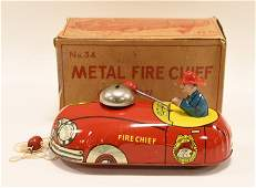 T Cohn Tin Litho Fire Chief Pull Toy 34 In Box