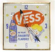 Vintage Vess Lighted Advertising PAM Clock