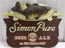 Vintage Simon Pure Beer   AleBass Advetising Sign