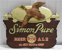 Vintage Simon Pure Beer  Ale  Advertising Sign