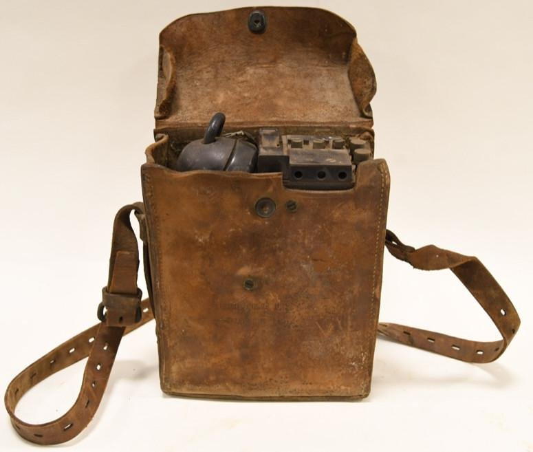 WWII U.S. Army Field Telephone In Leather Case