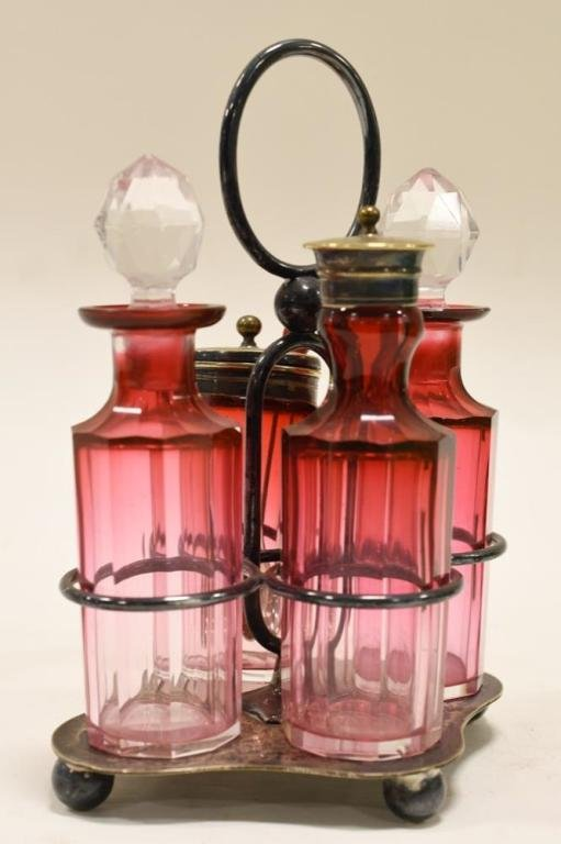 Victorian Cranberry Glass Caster Set