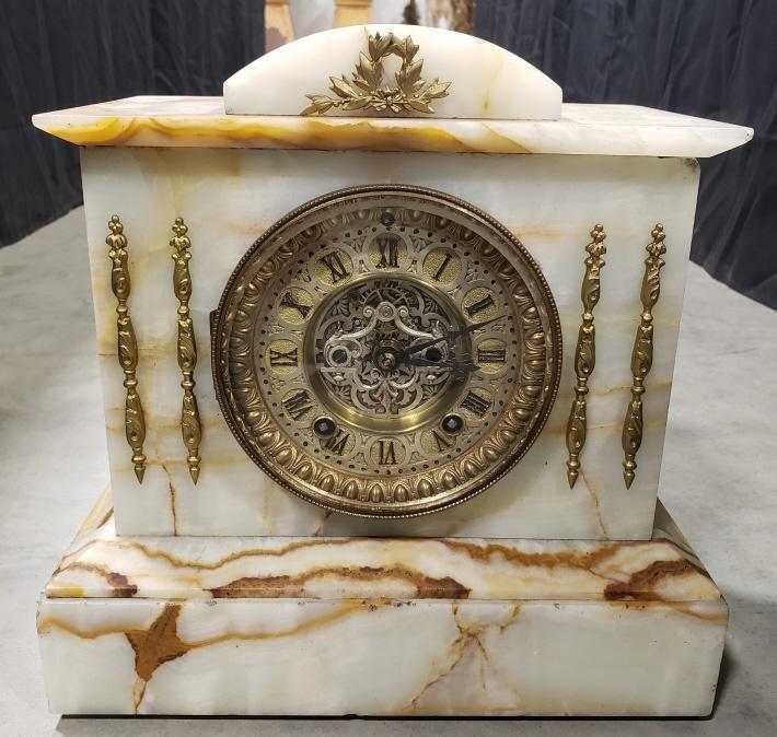 Antique Ansonia Marble Open Escapement Clock