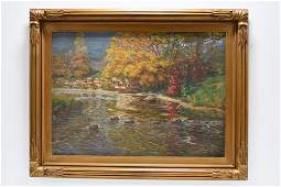 Frank Dudley Autumn In Indiana Oil On Canvas