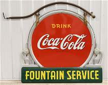 Scarce Large DSP Coca-Cola Fountain Service Sign
