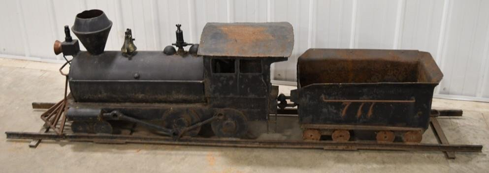 Large Folk Art Metal Locomotive w Tender