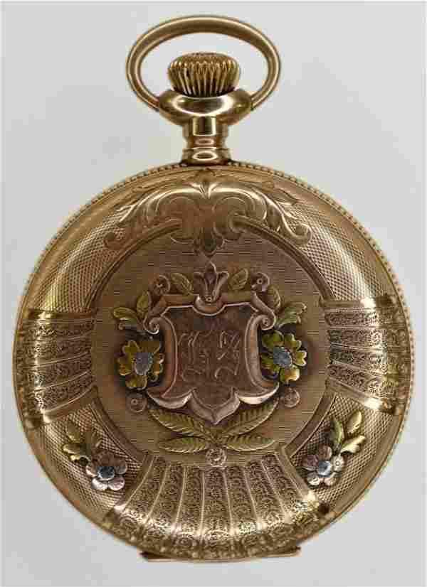 1906 Elgin 14K Tri-Color Hunting Case Pocket Watch