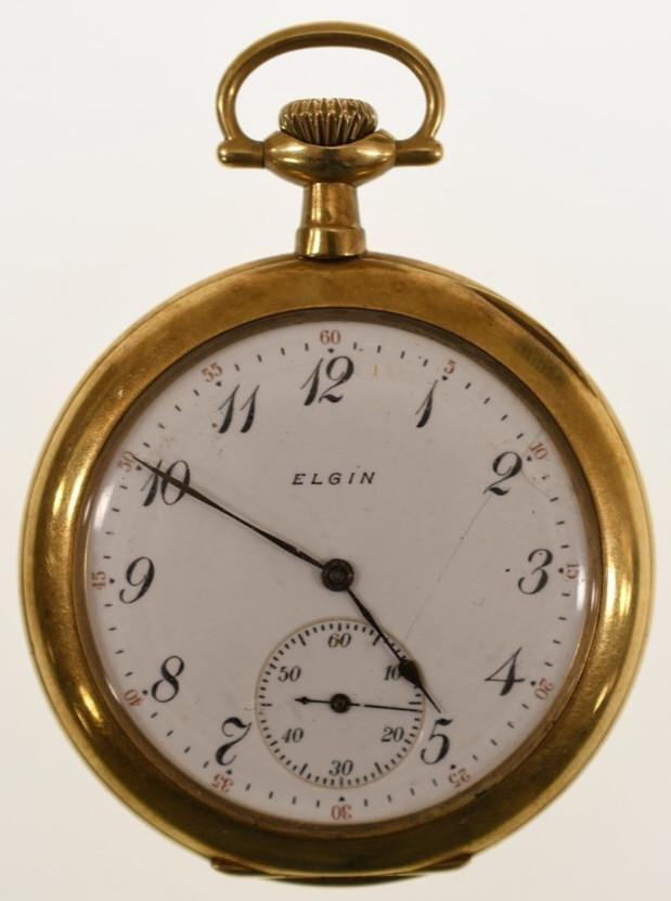 1911 Elgin B.W. Raymond 14K Open Face Pocket Watch